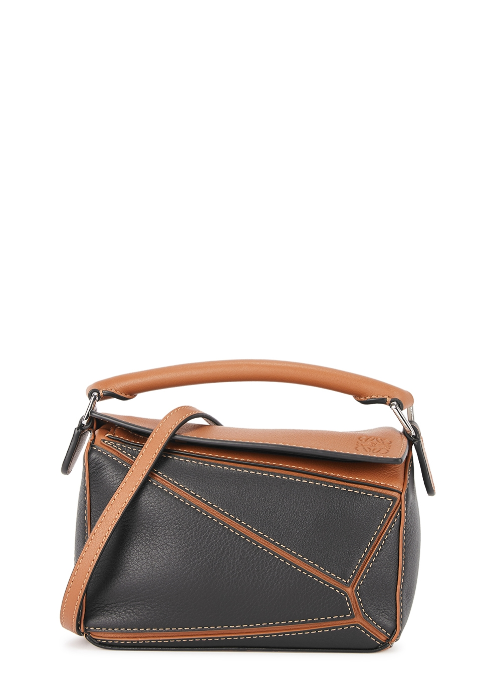 Puzzle mini two-tone leather cross-body bag