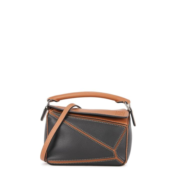 Loewe Puzzle Mini Two-tone Leather Cross-body Bag In Black
