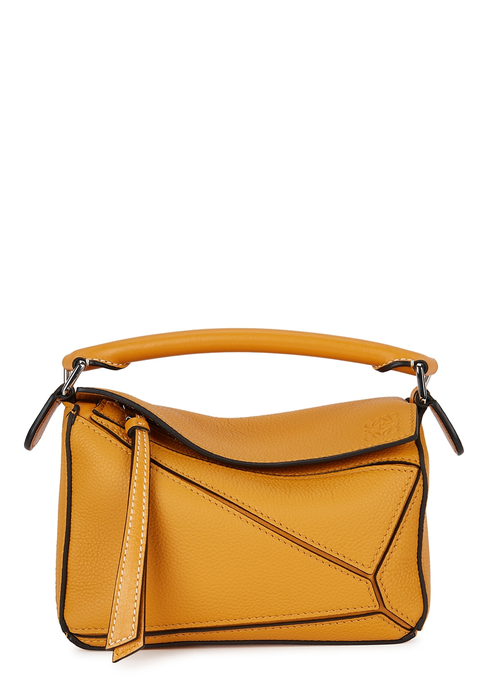 Puzzle mini yellow leather top handle bag