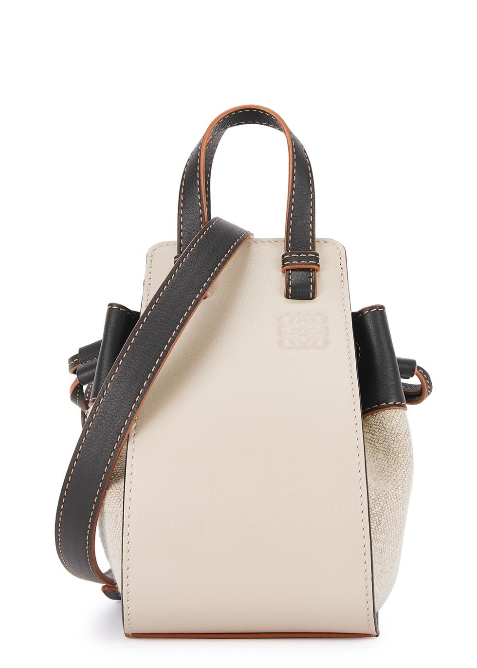 Hammock cream canvas and leather cross-body bag