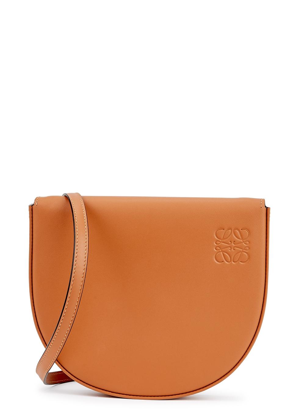 Heel brown leather cross-body bag