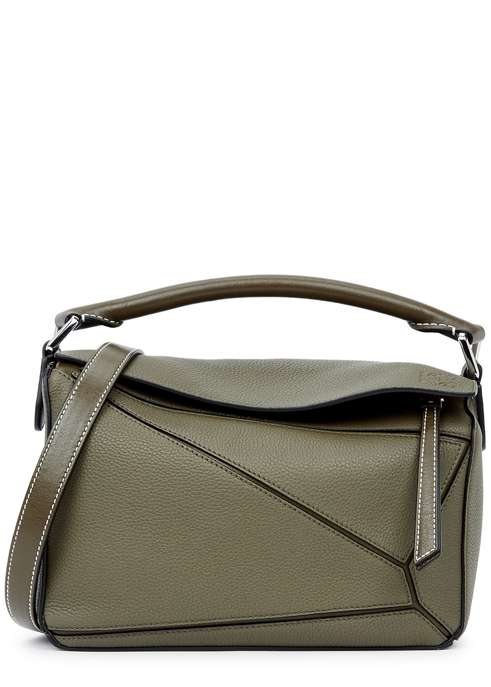 Puzzle small olive leather top handle bag
