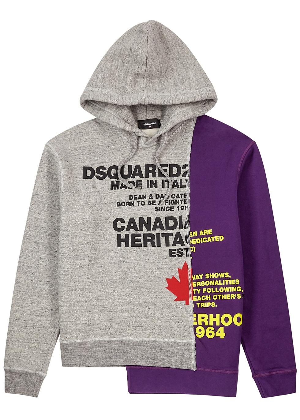 Printed panelled cotton sweatshirt