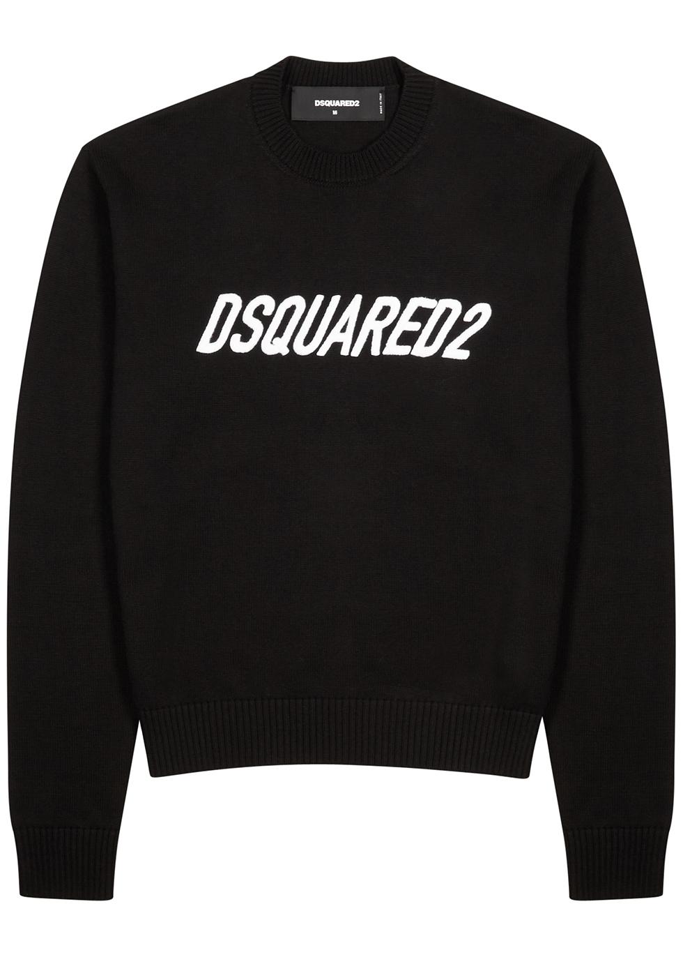 Black logo-embroidered cotton-blend jumper