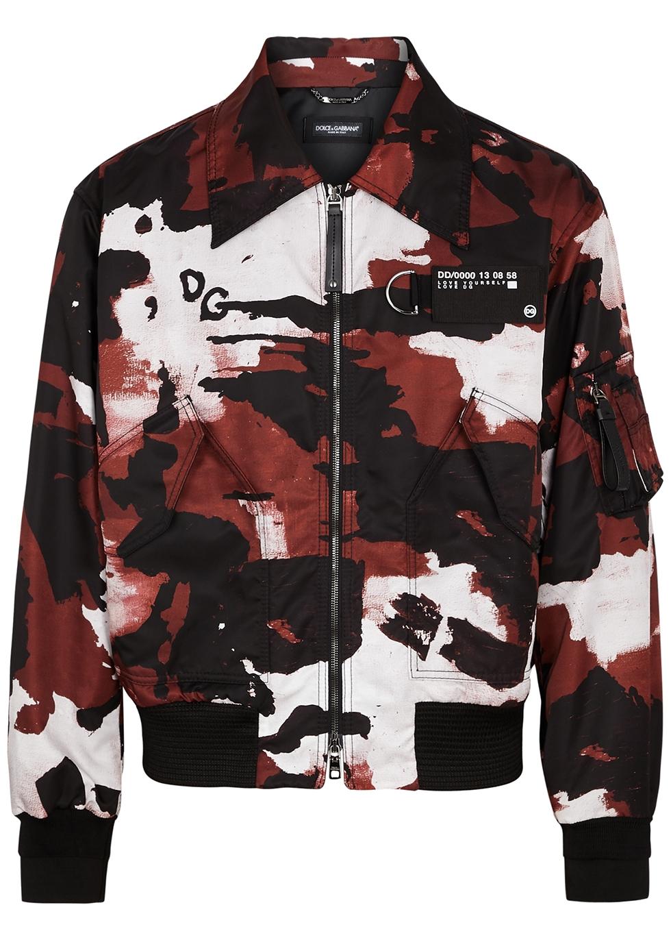Camouflage-print nylon bomber jacket