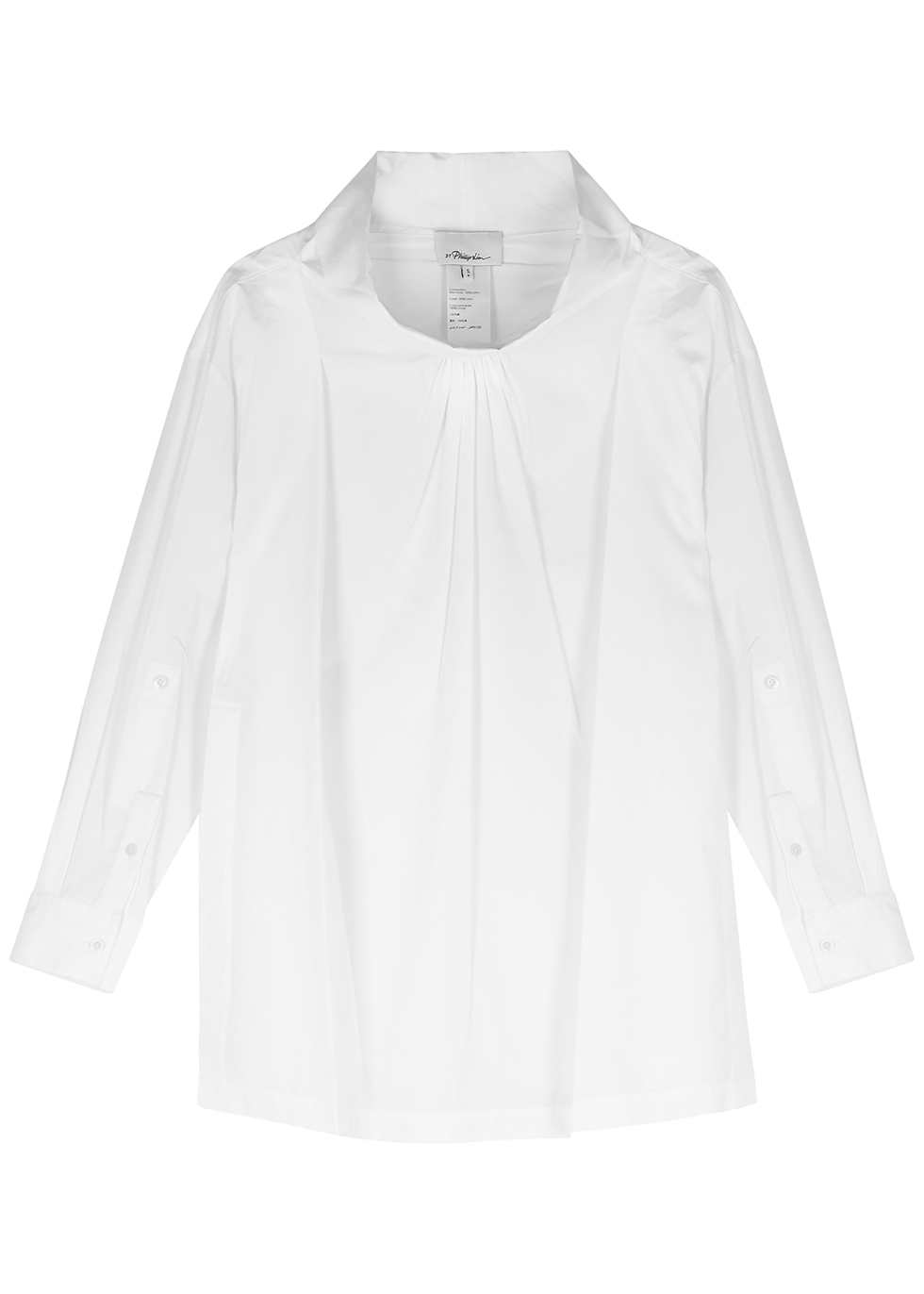 White draped cotton-poplin shirt