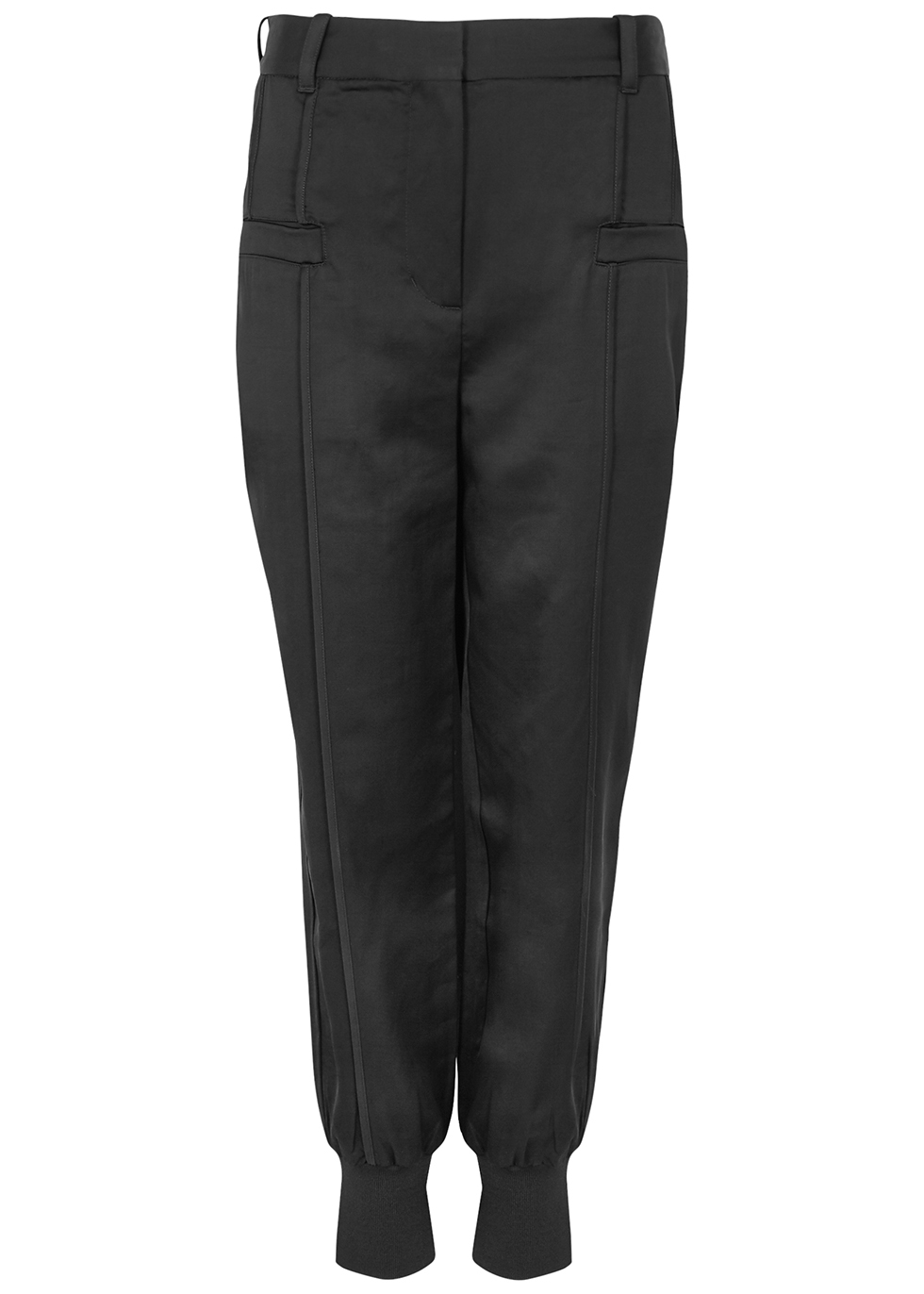 Black tapered satin trousers