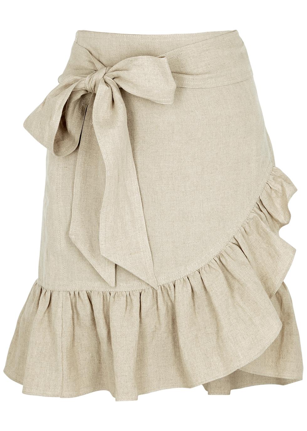 Tempster ecru linen wrap skirt