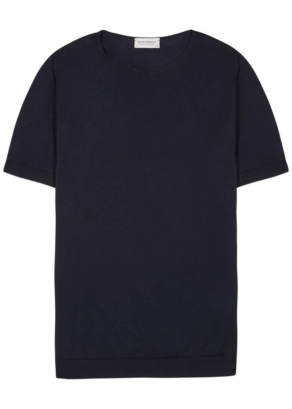 Belden navy fine-knit cotton T-shirt