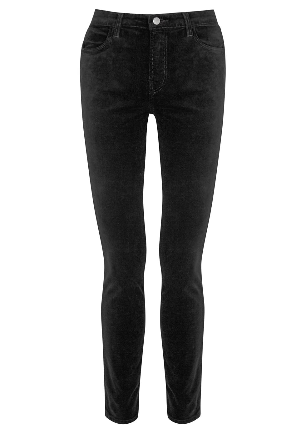 Maria black velvet skinny jeans