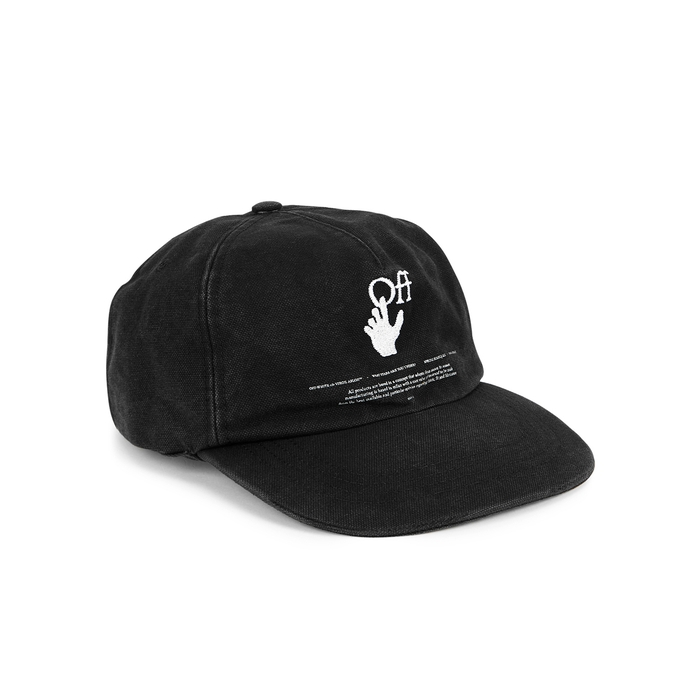 Off-white Black Embroidered Twill Cap In Black And White