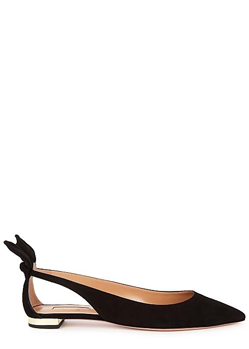 Bow Tie 10 black cut-out suede flats - AQUAZZURA