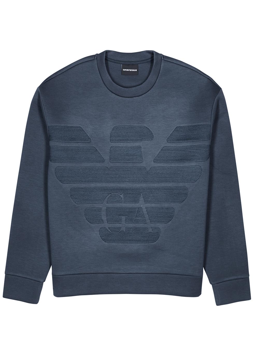 Navy logo-embroidered neoprene sweatshirt