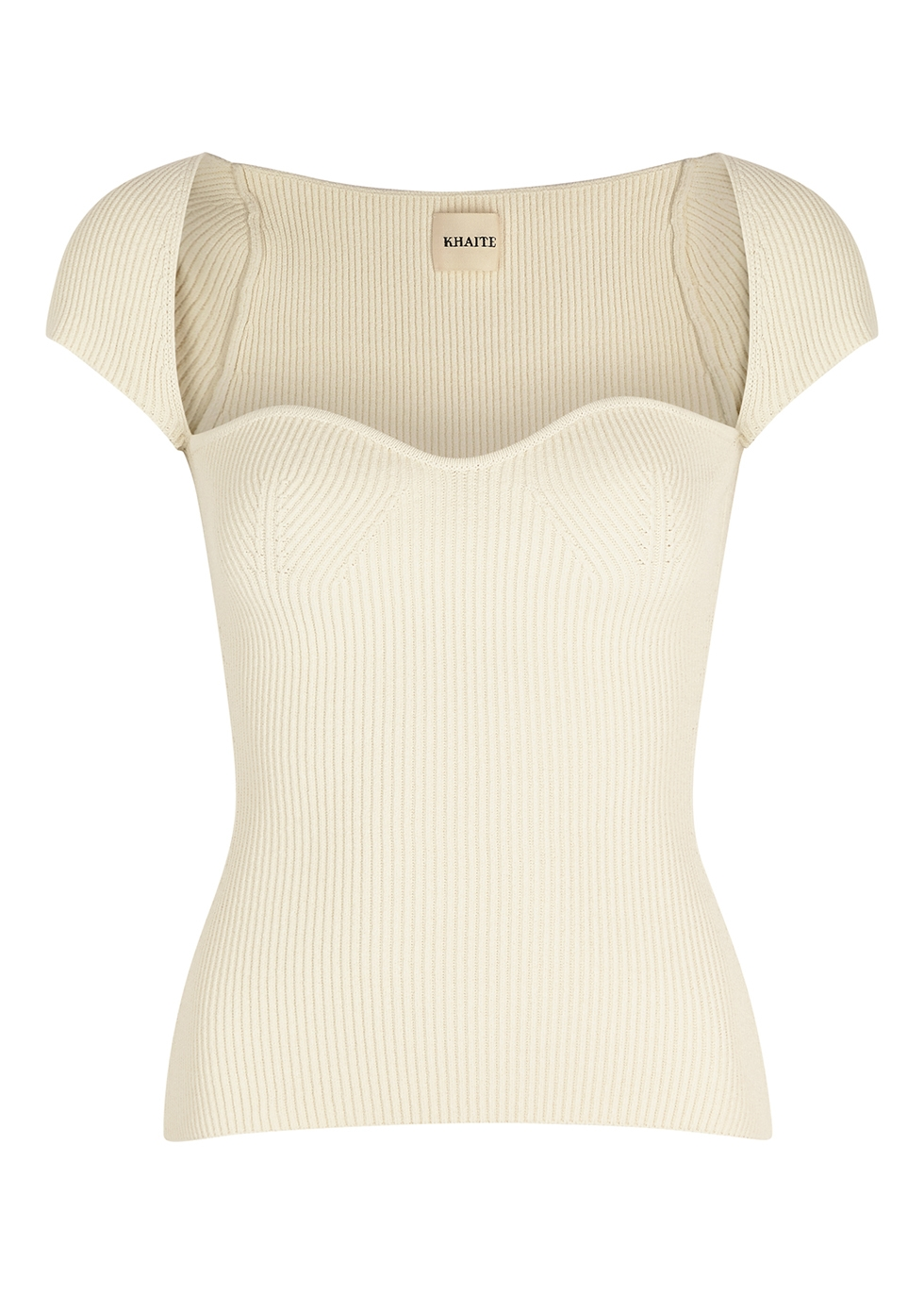 Ista ivory ribbed-knit top