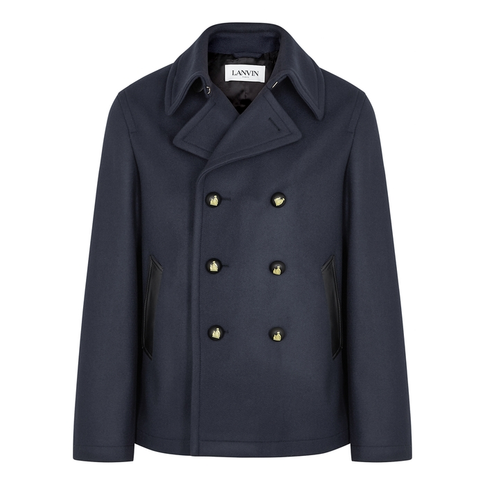 Lanvin Wools NAVY DOUBLE-BREASTED WOOL PEACOAT