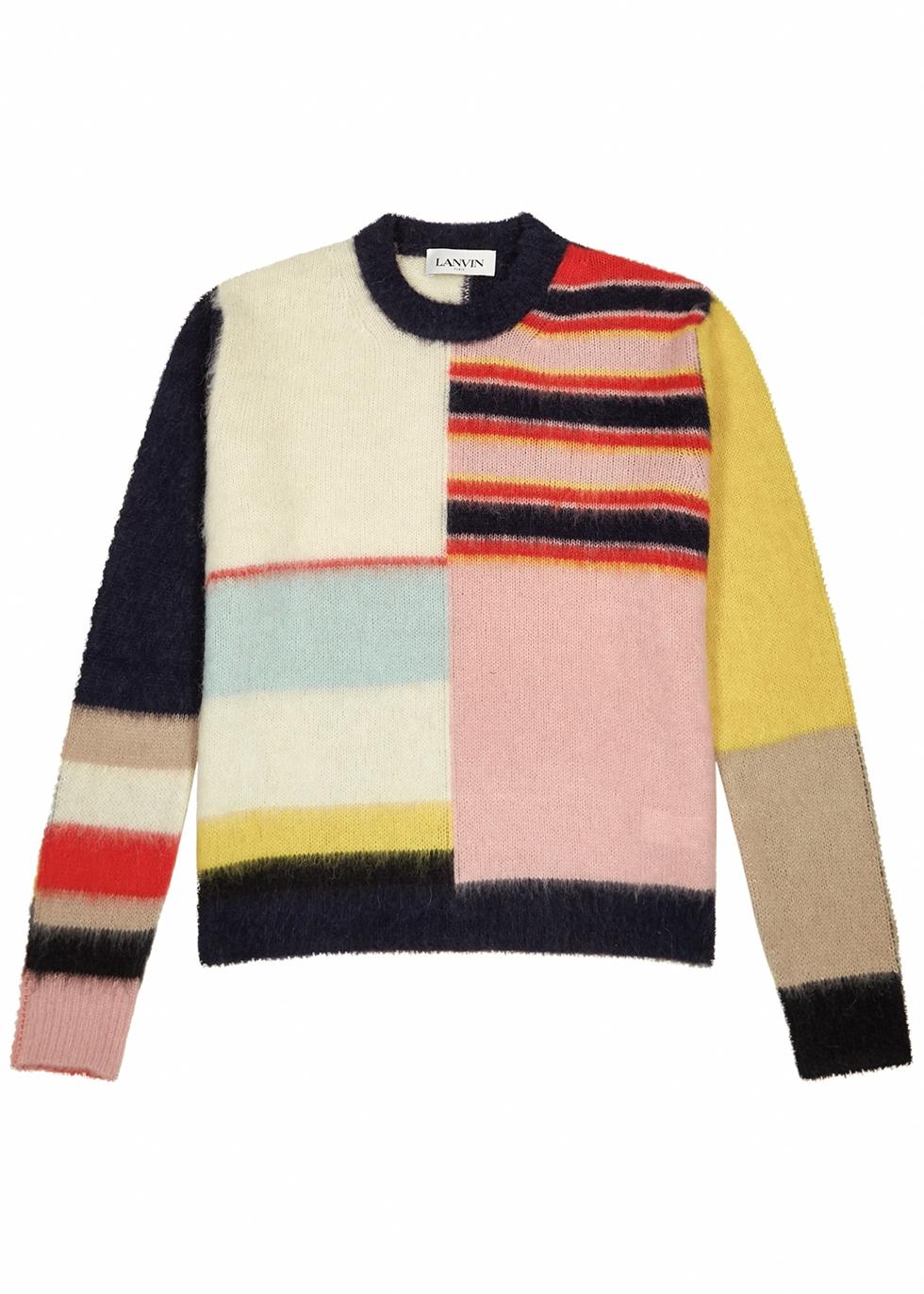 Colour-block fine-knit jumper