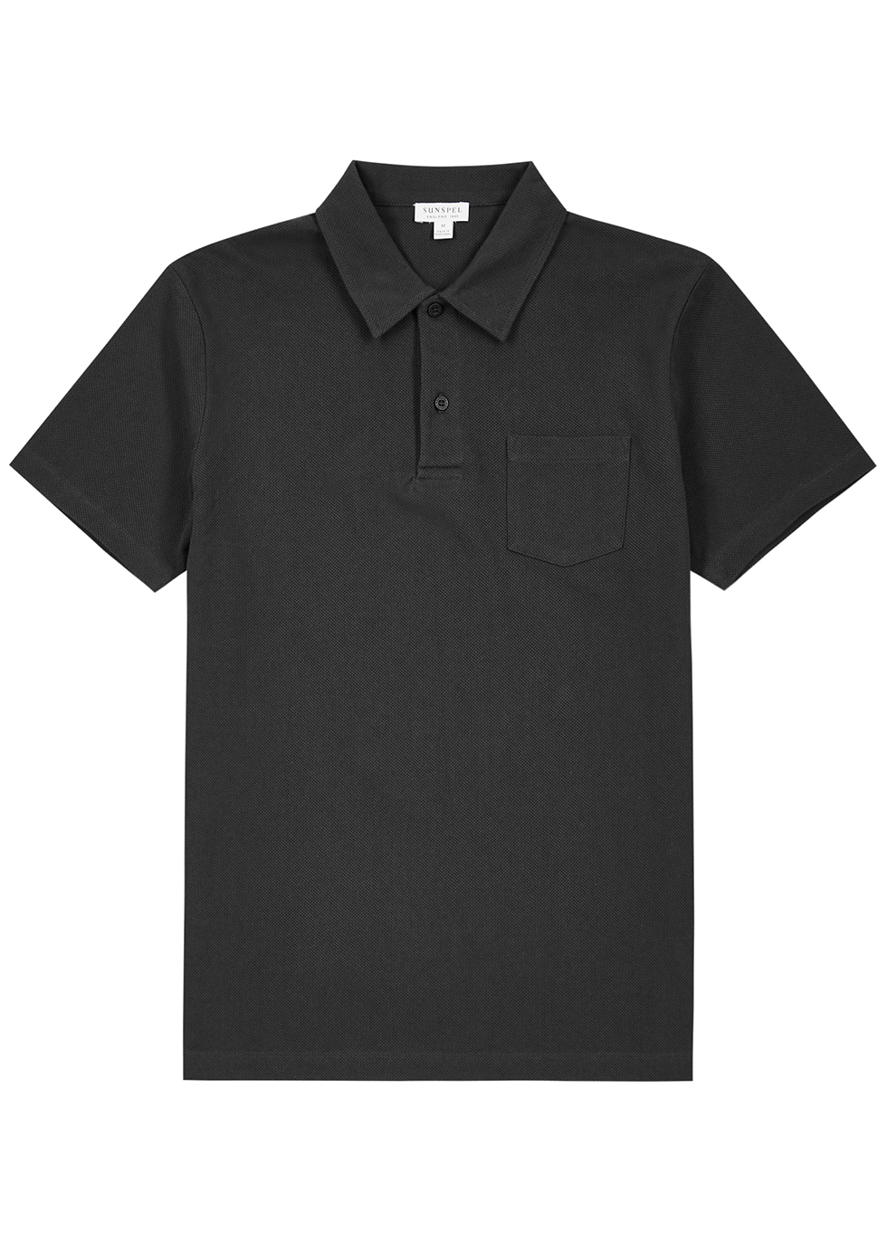 Riviera grey piqué cotton polo shirt