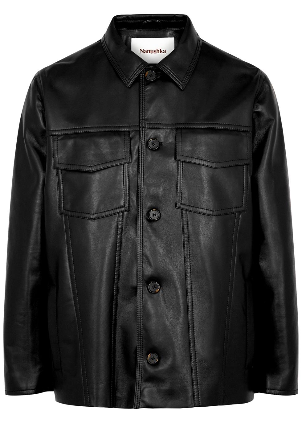 Cody black regenerated leather jacket
