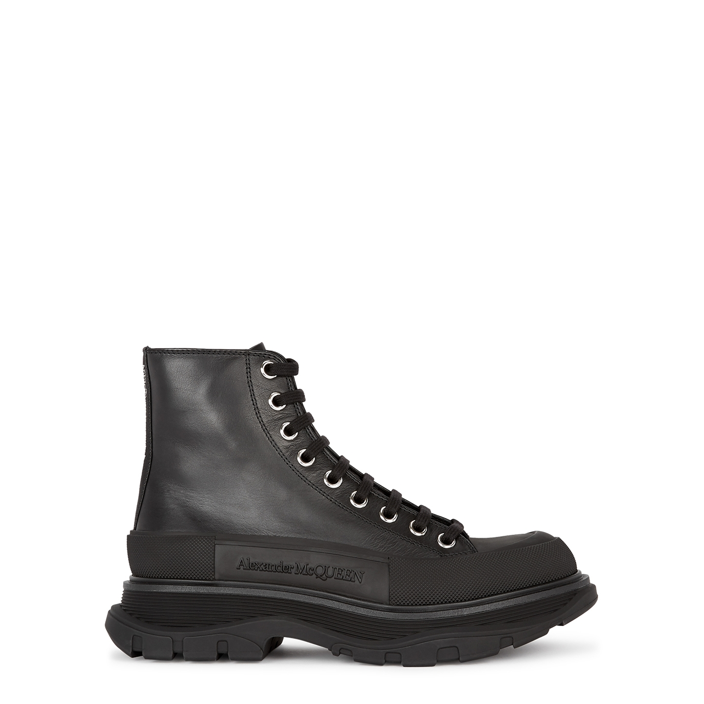 Tread black leather ankle boots