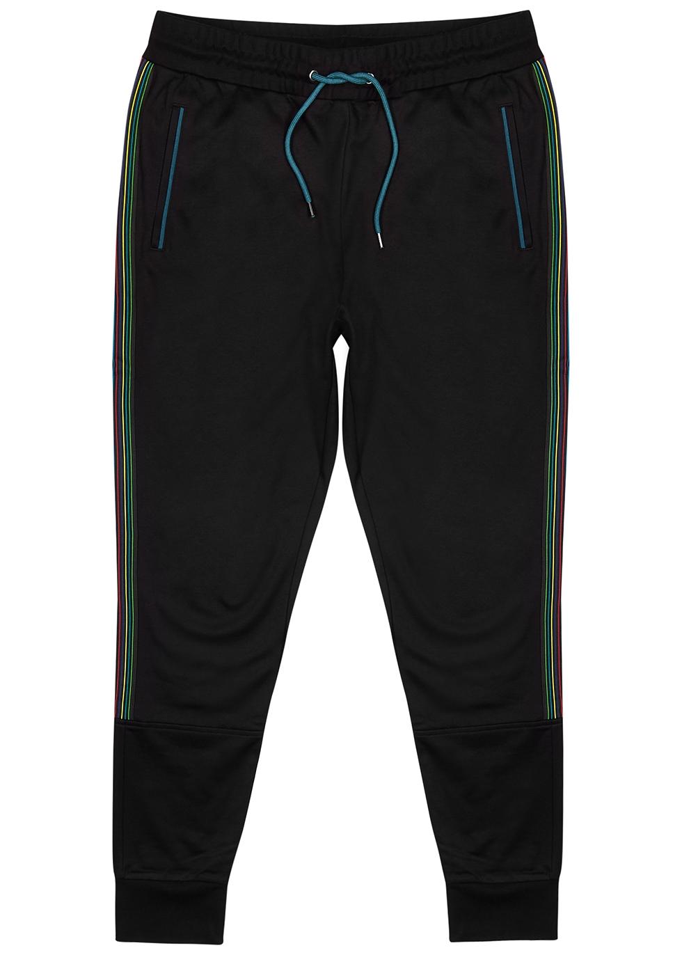Black striped cotton-blend sweatpants
