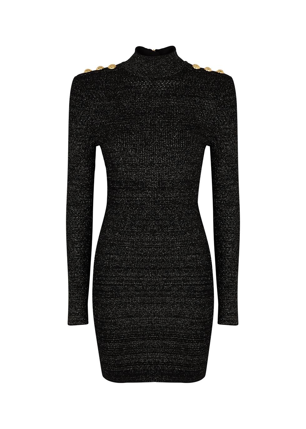 Black metallic-weave mini dress