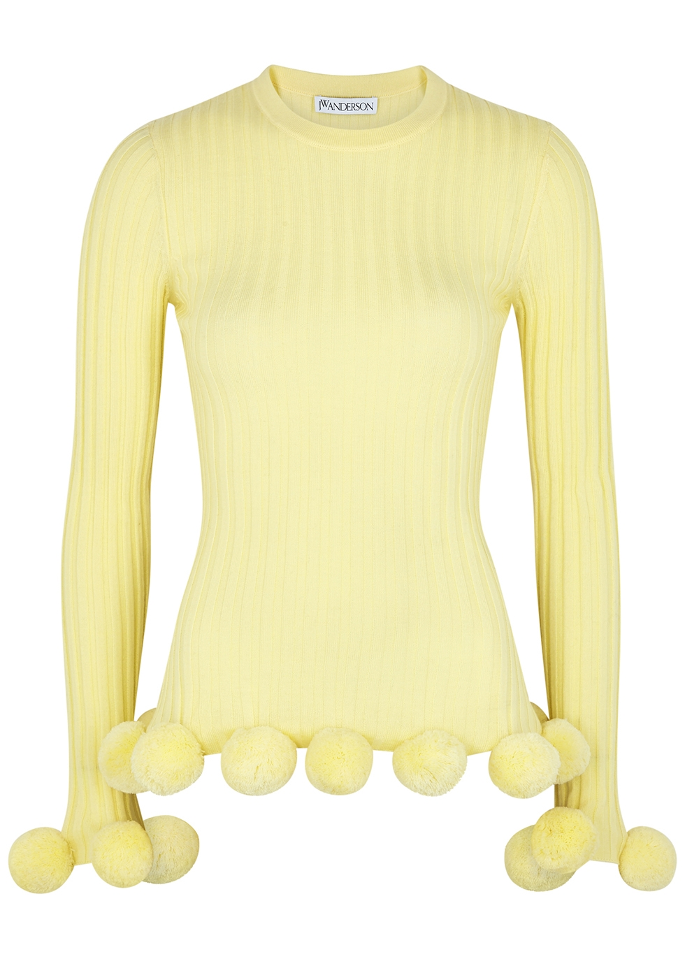 Yellow pompom-embellished wool jumper