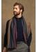 Reversible stripe silk cashmere scarf | navy & charcoal - Johnstons of Elgin