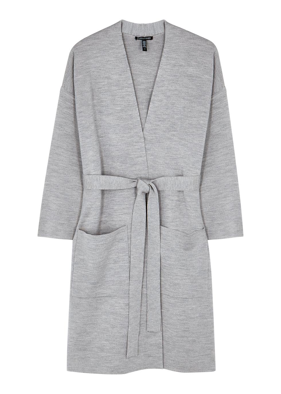 Light grey merino wool-blend cardigan