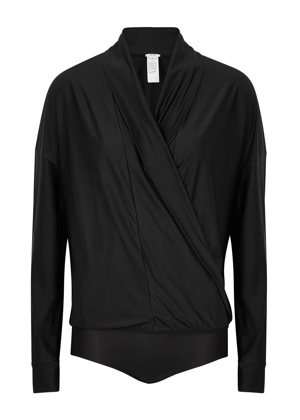 Shannon black wrap satin-jersey bodysuit