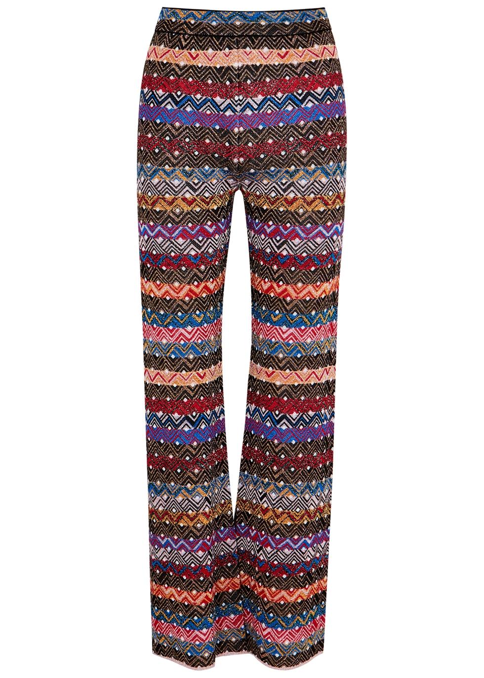 Striped flared-leg metallic-knit trousers