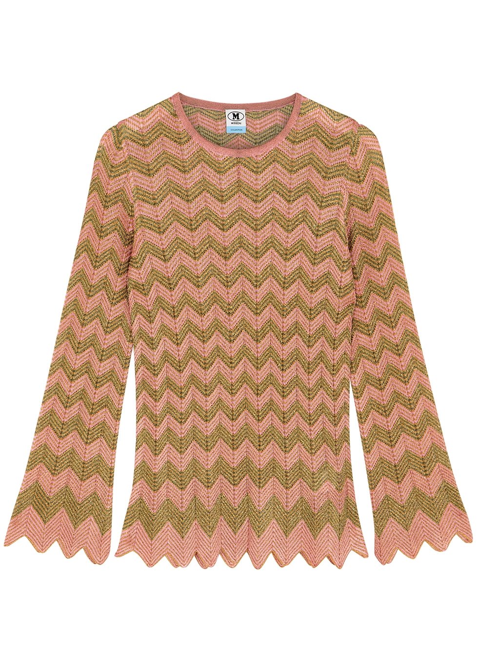 Zigzag metallic-knit top