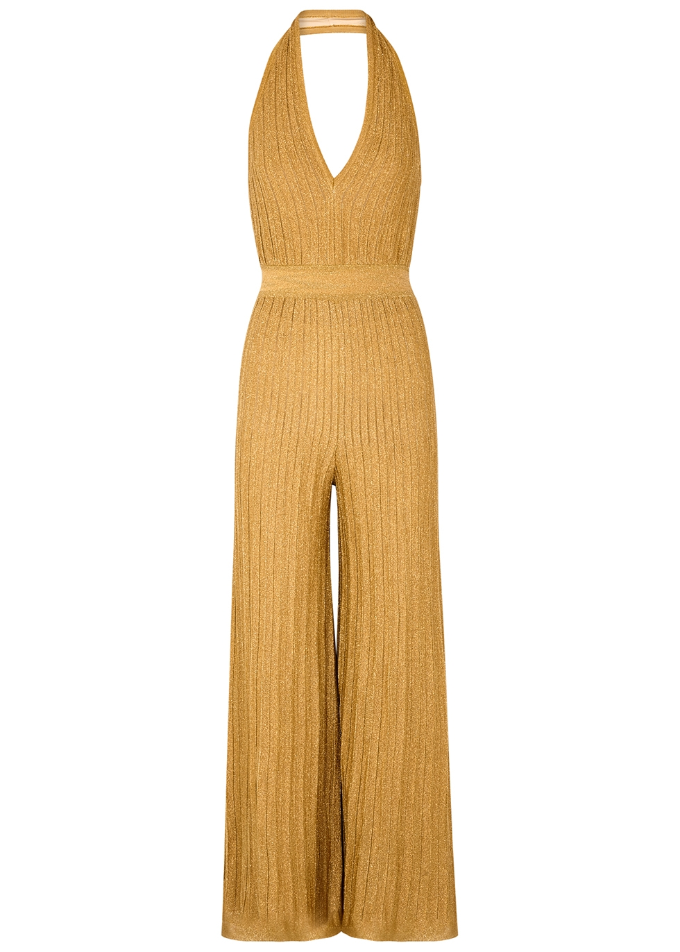 Metallic gold stretch-knit jumpsuit