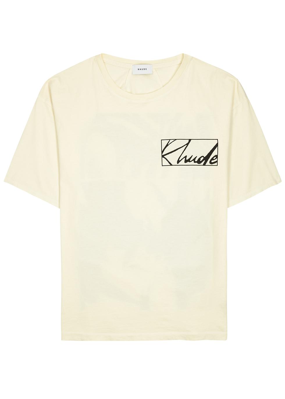 Theorist cream printed cotton T-shirt