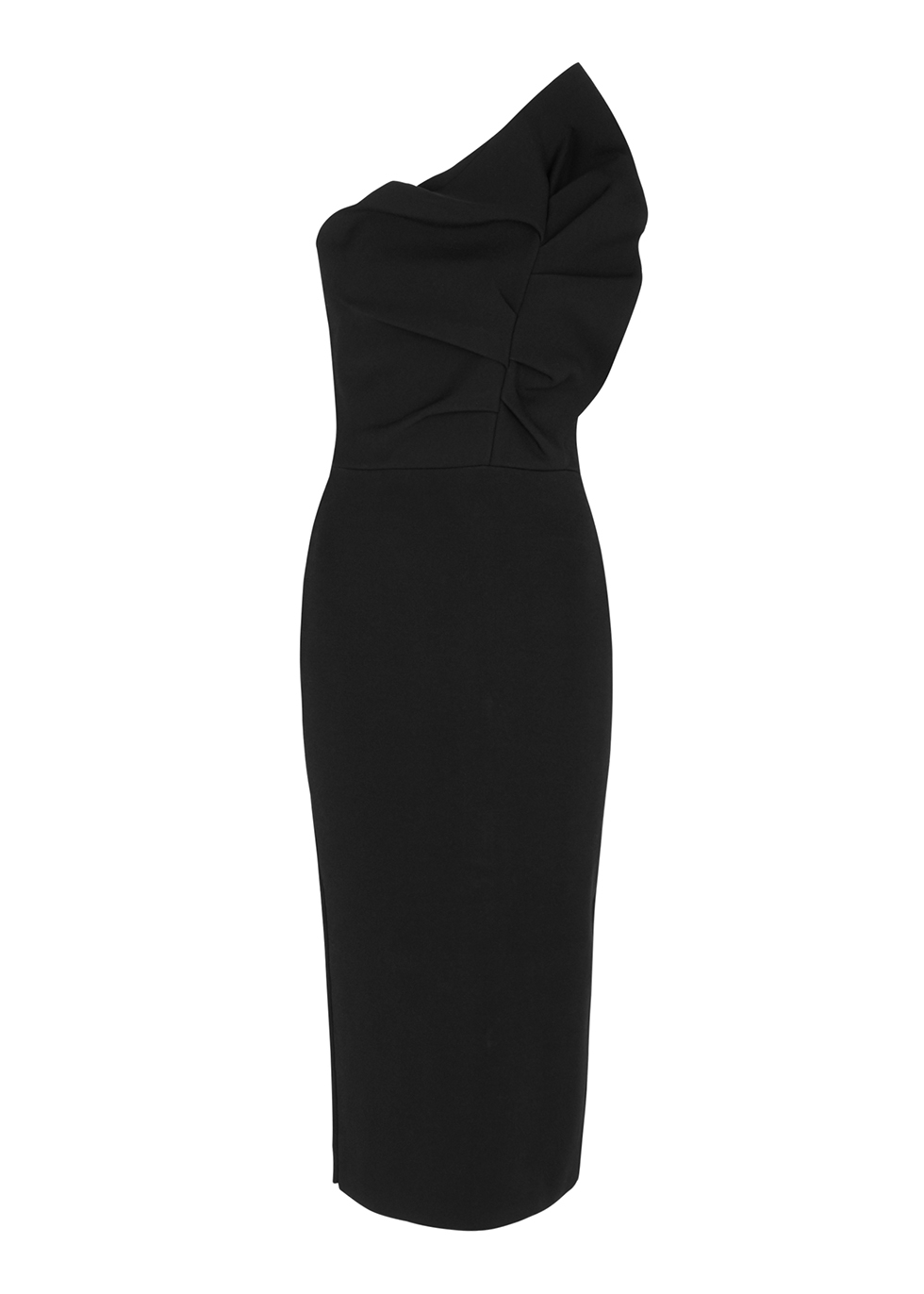 Raven one-shoulder stretch-knit midi dress