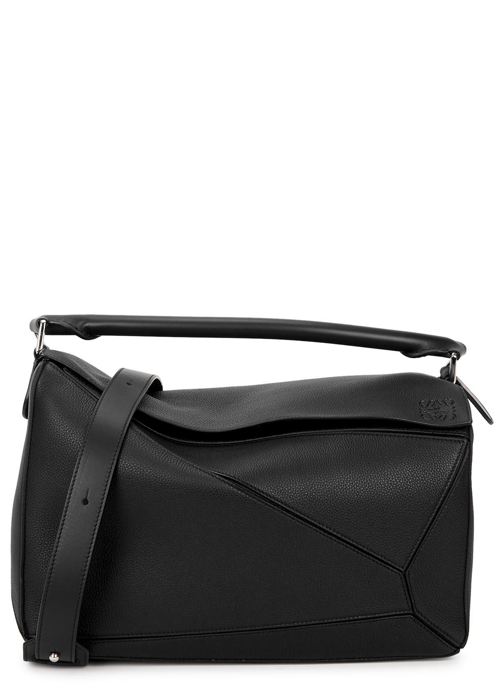 Puzzle large black leather shoulder bag