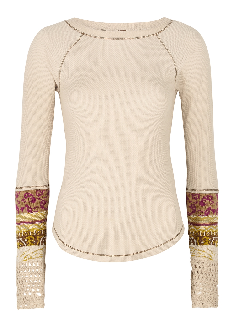 In The Mix cream waffle-knit cotton-blend top