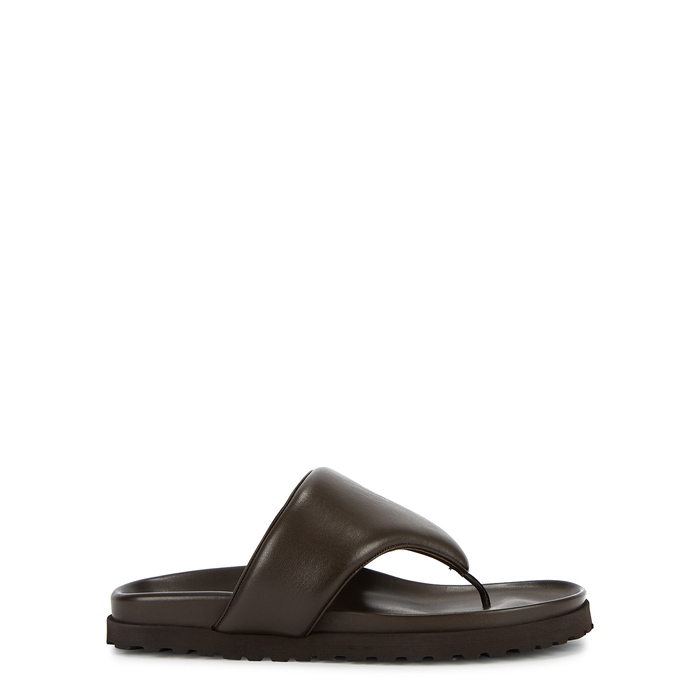 Gia Couture X PERNILLE TEISBAEK DARK BROWN LEATHER SANDALS