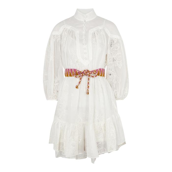 Zimmermann Mini dresses RIDERS IVORY EMBROIDERED RAMIE MINI DRESS