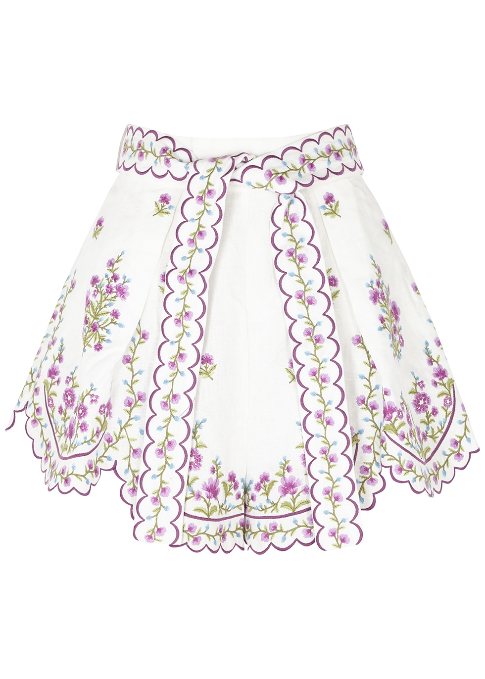Poppy floral-embroidered linen shorts