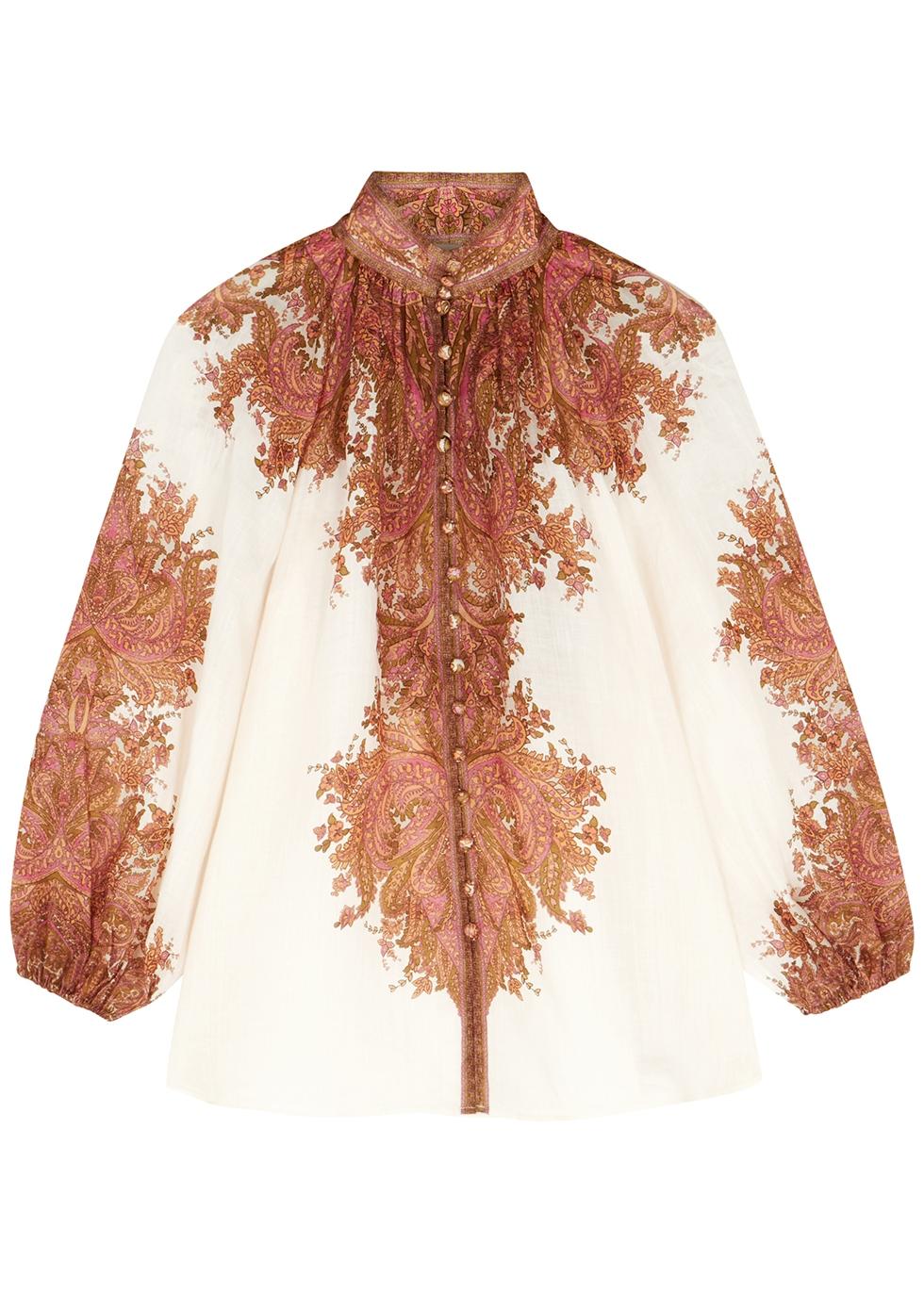 Brighton paisley-print ramie blouse