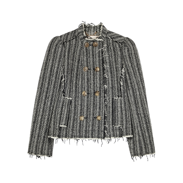 Tory Burch SAMMY MONOCHROME DOUBLE-BREASTED WOOL-BLEND JACKET