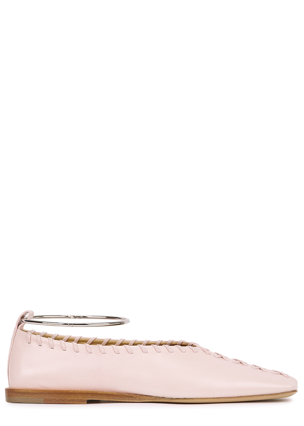 Light pink whipstitched leather flats