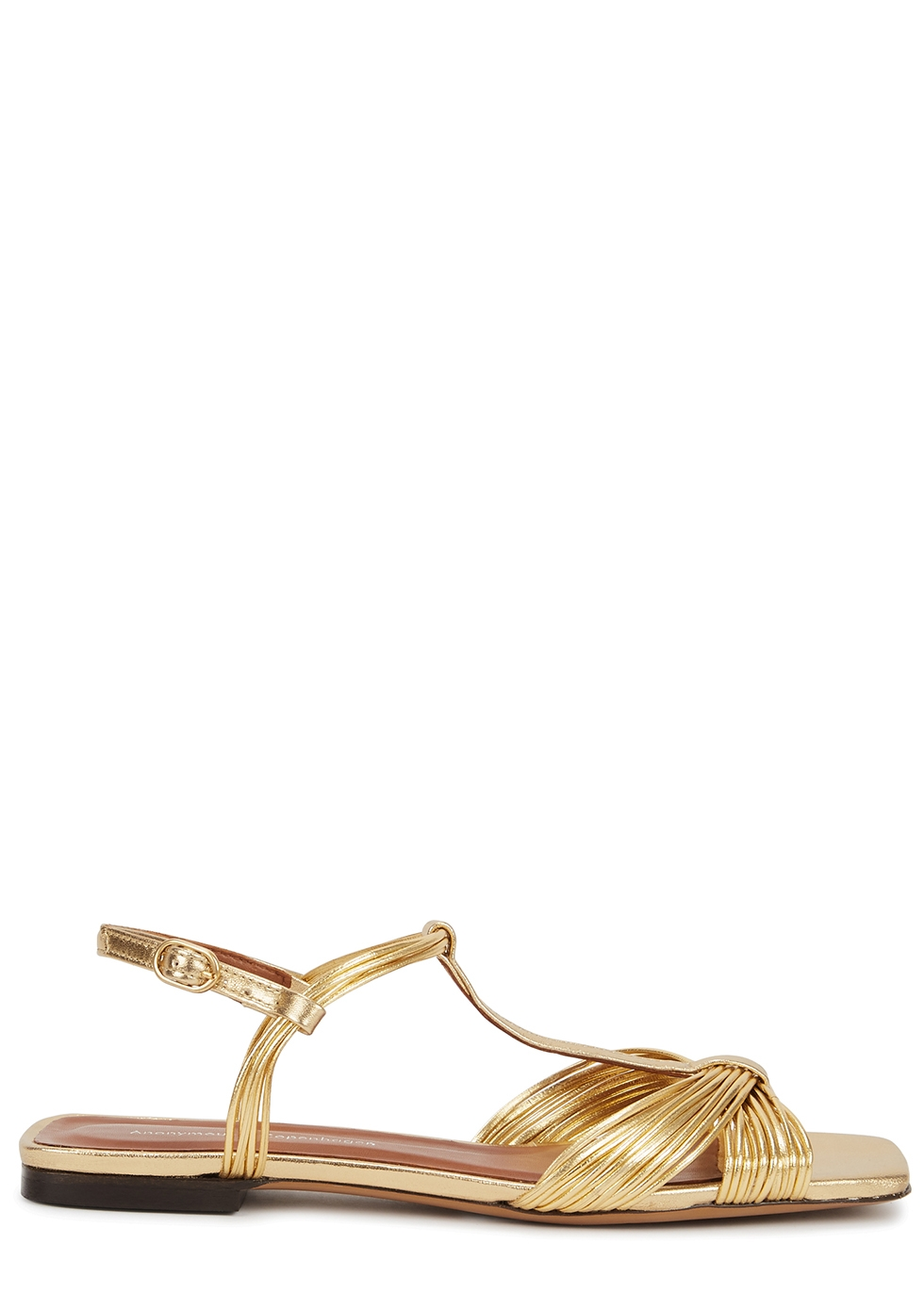 Alessandra gold leather sandals
