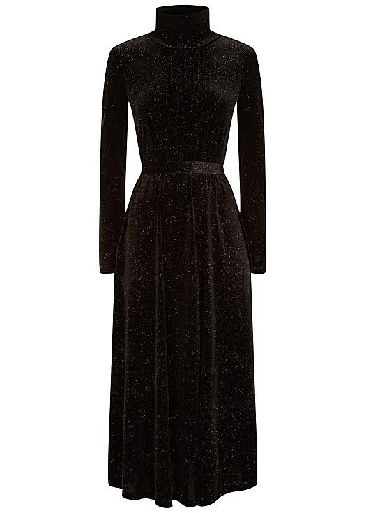 Broken strings long sleeve midi dress in black velvet - Traffic People