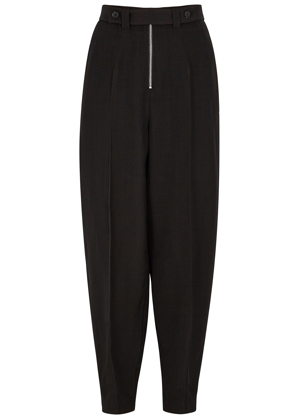 Black tapered-leg trousers