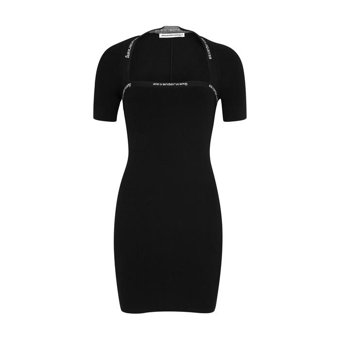 Alexander Wang T BLACK LOGO STRETCH-KNIT MINI DRESS
