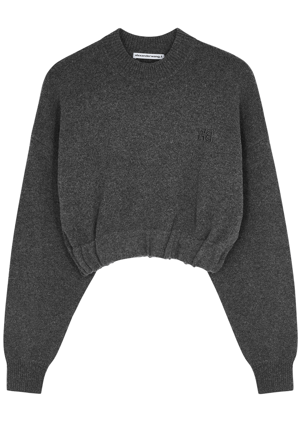 Grey cropped stretch-knit jumper