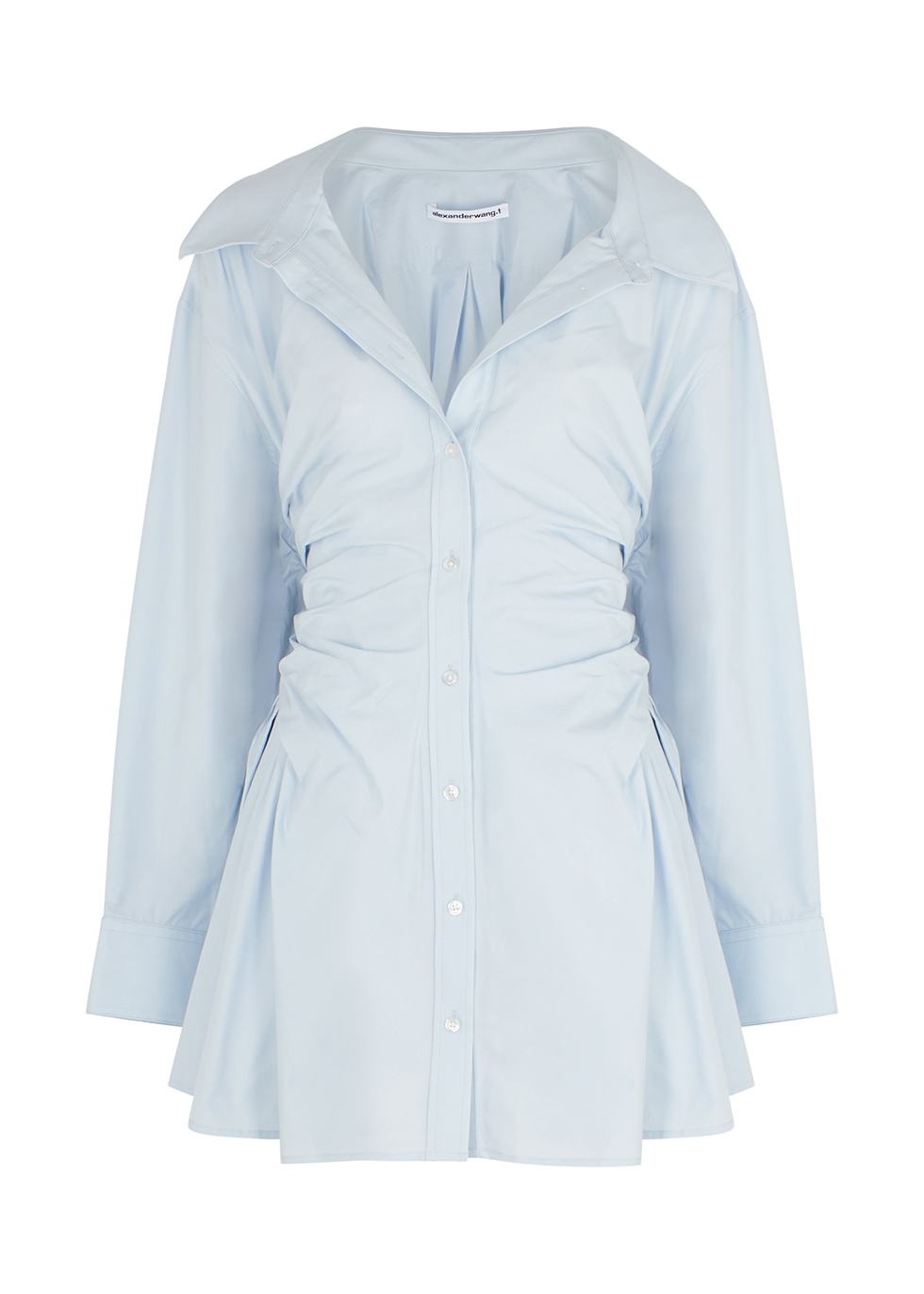 Blue ruched cotton shirt dress