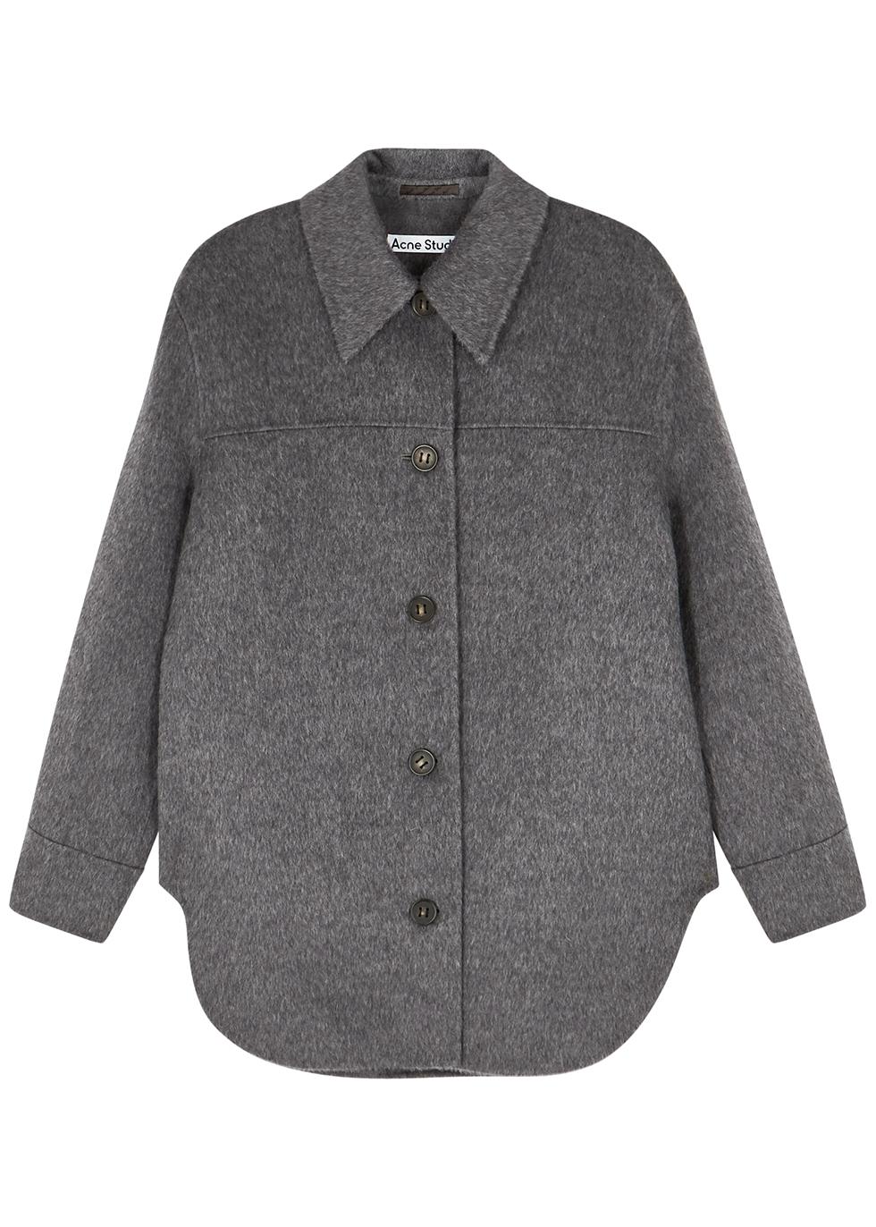 Ottie dark grey wool-blend overshirt
