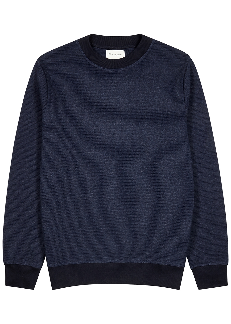 Robin navy waffle-knit cotton sweatshirt